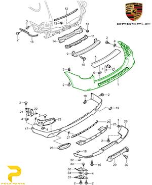 سپر-عقب-پورشه-کاین-95550541111-قیمت-خرید-فروش-لوازم-یدکی-قطعات-مصرفی-بدنه-اصلی-آلمانی-اورجینال-porsche-Genuine-cayenne-lining